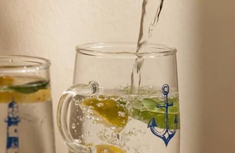 זוג ספלי זכוכית עוגן+מגדלור