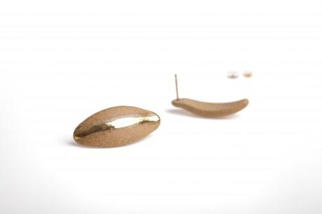 עגילי פורצלן וזהב-טבעי