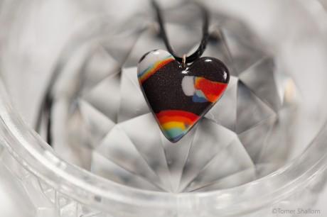 שרשרת לב קשת- שחור