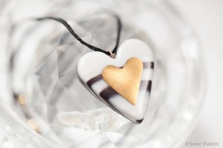 שרשרת לב זהב גדול- זברה
