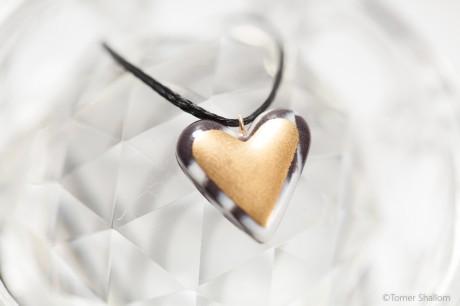 שרשרת לב זהב זברה